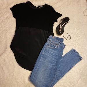 ARITZIA WILFRED Black Cotton and Silk Slit T-shirt
